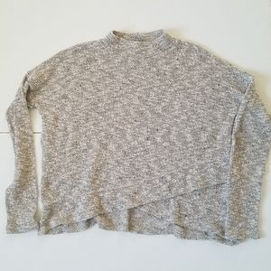 American Eagle Oatmeal Cropped Mock Neck Sweater